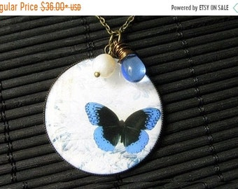 HALLOWEEN SALE Blue Butterfly Necklace. Butterfly Pendant with Fresh Water Pearl and Blue Teardrop. Handmade Jewelry.