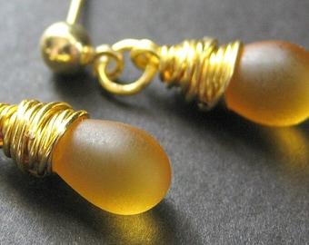 Clouded Amber Earrings: Gold Post Earrings. Drop Earrings. Wire Wrapped Dangle Earrings. Handmade Jewelry.