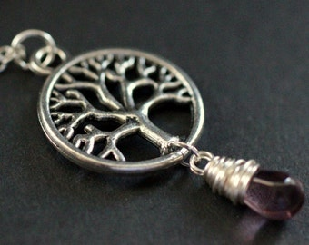 Silver Tree Necklace. Tree of Life Necklace. Wire Wrapped Purple Teardrop Necklace. Handmade Jewellery.