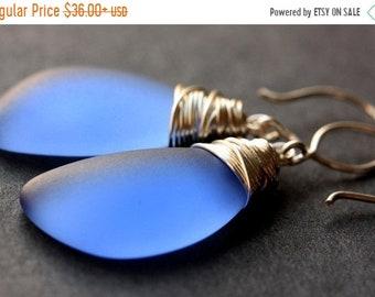 HALLOWEEN SALE Sapphire Blue Seaglass Earrings. Sapphire Blue Earrings. Sapphire Blue Sea Glass Earrings. Wire Wrapped Wing Earrings. Handma