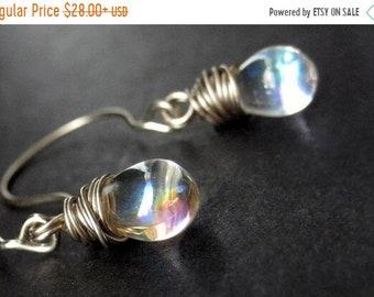 HALLOWEEN SALE Wire Wrapped Earrings: Clear Iridescent Drop Earrings in Silver. Dangle Earrings. Handmade Jewelry.