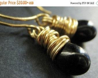 SUMMER SALE Black Earrings - Black Teardrop Earrings Wire Wrapped in Gold. Handmade Jewelry.