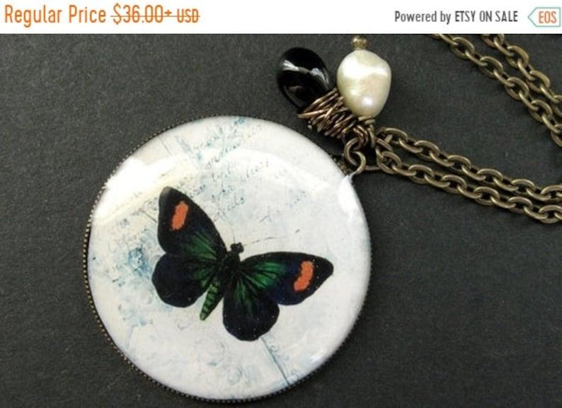 HALLOWEEN SALE Butterfly Necklace. Black Butterfly Pendant image 0