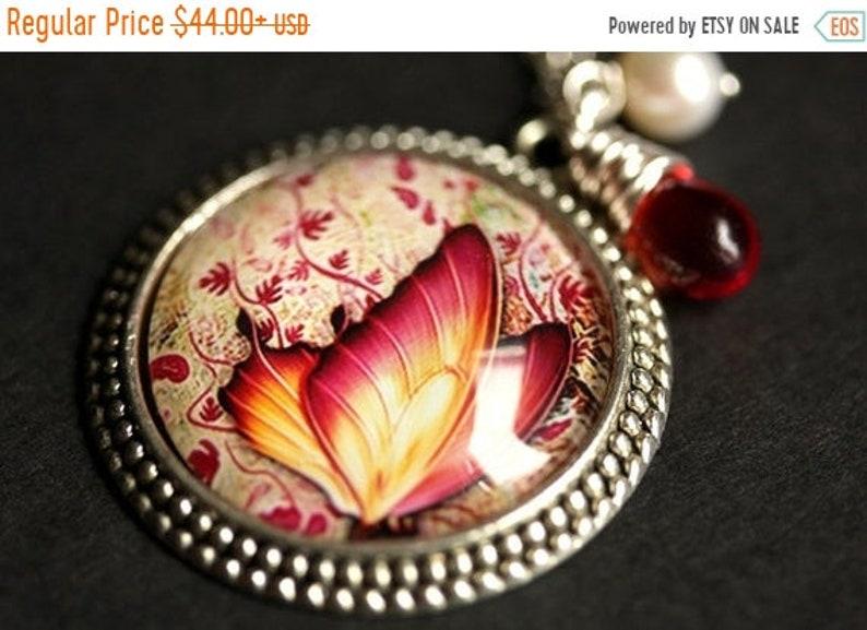 VALENTINE SALE Fiery Butterfly Necklace. Butterfly Pendant image 0