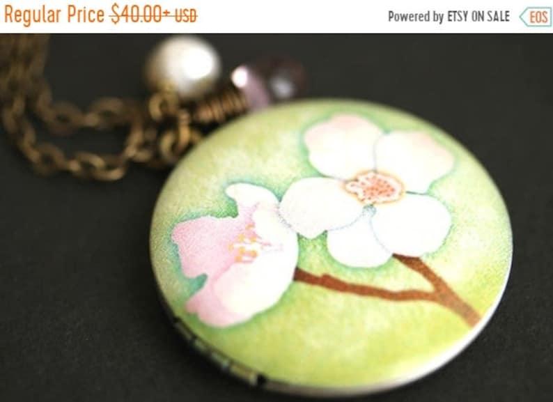 VALENTINE SALE Cherry Blossom Locket Necklace. Cherry Flower image 0