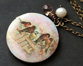 Bird Family Necklace. Bird Locket Necklace. Summer Garden Locket. Bird Necklace. Bronze Necklace with Pink Teardrop and Pearl.