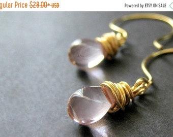 HALLOWEEN SALE Teardrop Earrings: Wire Wrapped Light Pink Earrings in Gold. Handmade Jewelry.