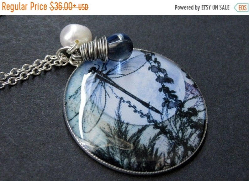 HALLOWEEN SALE Dragonfly Necklace. Blue Dragonfly Pendant with image 0