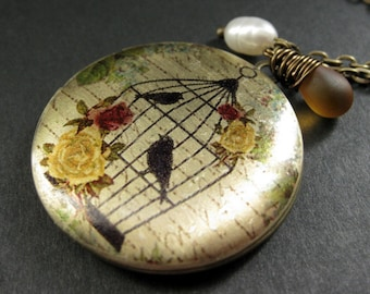 Locket Necklace. Autumn Roses and Birdcage Necklace with Amber Teardrop and Pearl. Handmade Jewelry.