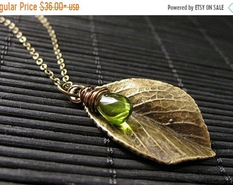 HALLOWEEN SALE Leaf Necklace. Bronze Leaf Pendant with Wire Wrapped Green Teardrop. Handmade Jewelry.