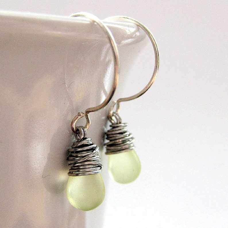 Wire Wrapped Earrings Clouded Lemon Lime Drop Earrings STERLING SILVER Earrings Handmade Jewelry.