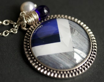 Cheveron Necklace. Gray, White, and Blue Chevron Pendant with Cobalt Blue Teardrop and Fresh Water Pearl. Blue Necklace. Handmade Necklace.