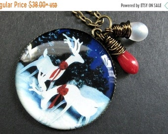 HALLOWEEN SALE Christmas Reindeer Necklace. Holiday Pendant with Red Coral and Frosted White Teardrop. Handmade Jewelry.