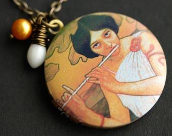 Joueuse de Flute Locket Necklace. Flute Necklace. Paul Berthon Necklace with White Coral Teardrop and Orange Pearl. Art Nouveau Necklace.