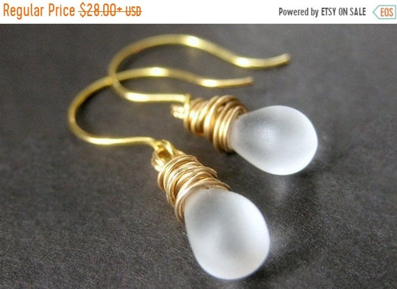 HALLOWEEN SALE 14K Gold Wire Wrapped Earrings  Iridescent image 0