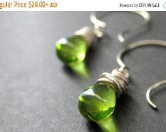 HALLOWEEN SALE STERLING Silver Wire Wrapped Sterling Earrings - Leaf Green Clear Drop Earrings. Dangle Earrings. Handmade Jewelry.