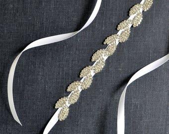 Silver Leaves Bridal Belt, Wedding Belt, Leaf Rhinestone Sash Belt STELLA