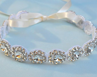 Ready To Ship Headband - Ribbon - Crystal - Accessories - Bridal - Wedding - Rhinestone headband