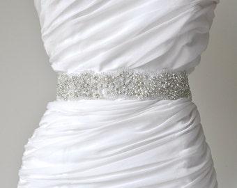 Wedding sash, Crystal rhinestone beaded bridal sash, Bridal Accessories