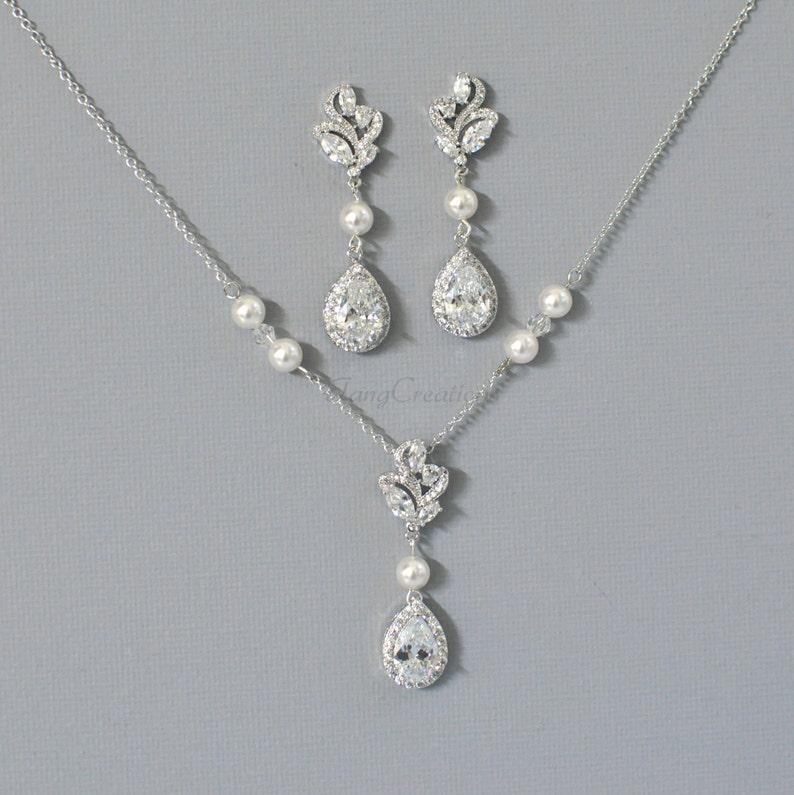 c37de3540112 Nupcial collar de joyas Rodio plata cristal collar cristal
