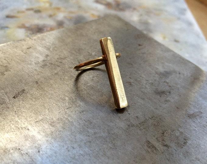 Vertical Bar Ring in Brass