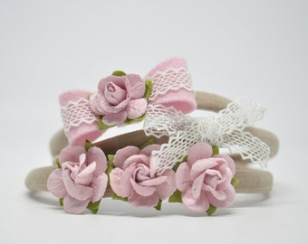 Baby Headbands. Pink. Flower Crown. Lace Bow. Baby Bow. Baby Girl Bow. New Baby Gift. Baby Shower. Toddler Headband   HB1356