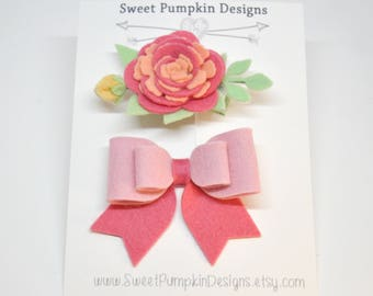 M2M Matilda Jane, Bow, Flower, Coral, Pink, Turquoise, Peach, Baby Bow, Hairbows, Hair Clips, Headbands, Toddler Hair Accessory HC1295