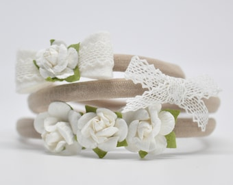 Baby Headbands. White. Flower Crown. Lace Bow. Baby Bow. Baby Girl Bow. New Baby Gift. Baby Shower. Toddler Headband   HB1355