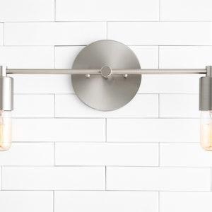 Brushed Nickel Vanity Light Bathroom Lighting Mirror Etsy