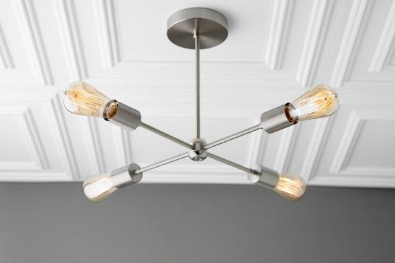 promo code f3ed6 b340f Sputnik - Brushed Nickel Light - Industrial Lighting - Four Bulb Chandelier  - Light Fixture - Ceiling Light - Chandelier Lighting