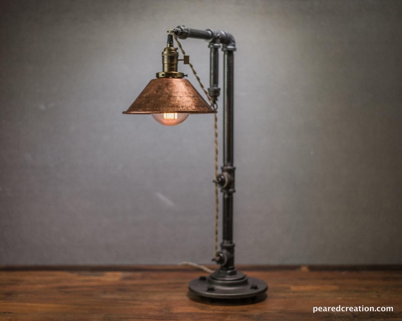 Industrial table lamp edison bulb lamp table lamp industrial lighting copper shade desk lamp rustic iron pipe barn light