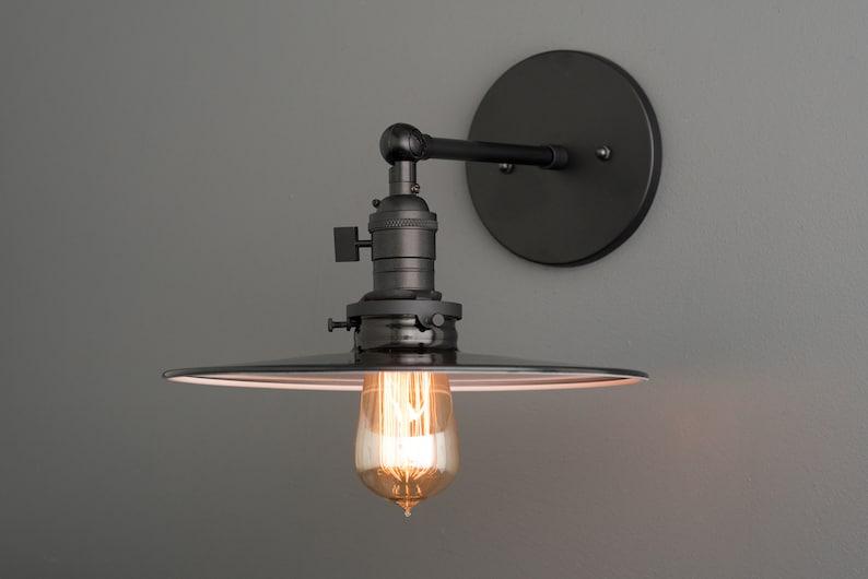 Industrial wall lamp black sconce edison bulb bedside etsy
