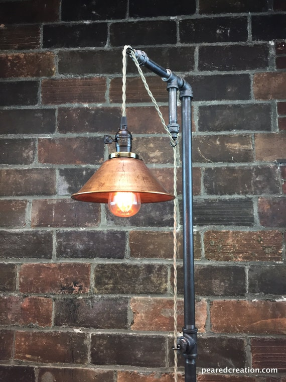 Industrial Floor Lamp Copper Shade Edison Bulb Industrial Furniture Steampunk Barn Light Model No. 2351