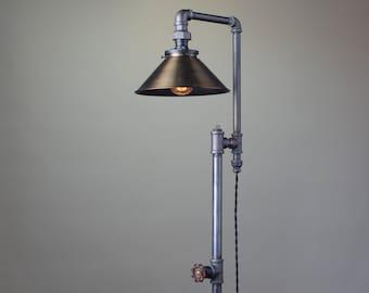 Antique Brass Floor Lamp - Industrial Furniture - Floor Lighting - Modern Floor Lamp - Industrial Floor Lamp