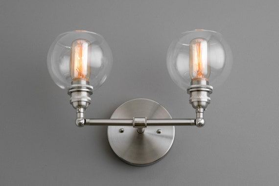 globe wall sconce bistro image globe wall sconce two bulb light industrial lighting etsy
