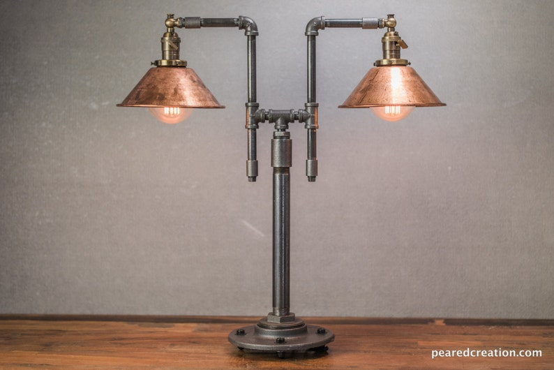 Vintage Table Lamp Industrial Style Iron Piping Copper Etsy