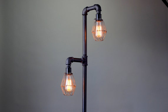 newest 1c077 2095e Pipe Floor Lamp - Industrial Floor Lamp - Edison Bulb - Standing Lamp -  Bulb Cage - Modern Lamps