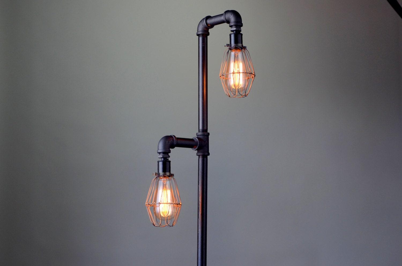 Pipe Floor Lamp Industrial Floor Lamp Edison Bulb Etsy