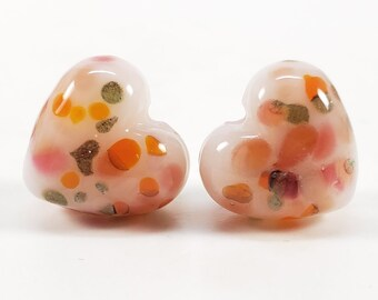 ooak earring pairs Lampwork Glass Bead Pair orange pumpkins SRA Lampwork