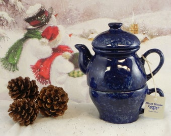 Tea for one/teapot and cup/teapot set/Blue Agate design/handpainted/ceramic/made in USA/Gift for Mom