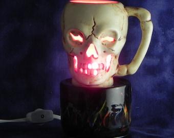 Skull Light,Halloween light,Skull Gift,Ceramic Skull Light, Red Skull Light,Skull Decor ,Skull Lover Present