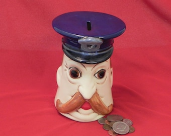 Policeman Bank/Police Cop Gift/Coin change Bank/ From Stangl Mold/collectible bank/ceramic change bank/Policeman Christmas gift/Cop Gift