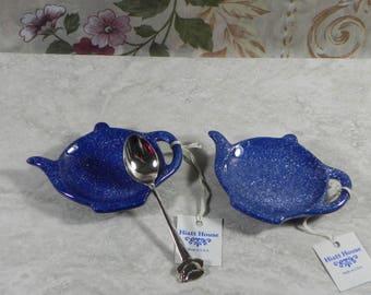 Tea bag Holders/ Shower Favor/Set of 4/ceramic/handmade/handpainted/ring holder/spoonrest/brillo holder