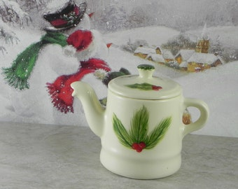 Teapot/2 cup teapot/from orginal stangl mold/handpainted/christmas gift/Pine and Berry teapot/stoneware/made in U.S.A.