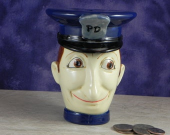 Police Bank /Cop Bank/Kids Bank/ Father's Gift/Coin Bank/Change Bank/Ceramic Bank/Handpainted Bank/From orginal Stangl molds