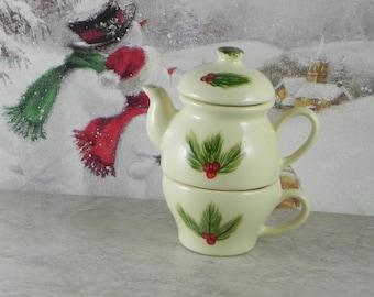 Tea for one/teapot and cup/teapot set/pine and berry design/handpainted/ceramic/made in USA/Christmas gift