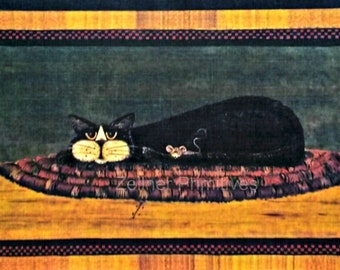 Primitive Folk Art - Black Cat - Art Adhered To Wood / Ready To Display Measures approximately 9'' wide and 6'' high Handmade in the USA
