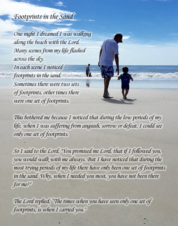 It's just a picture of Poem Footprints in the Sand Printable inside religious