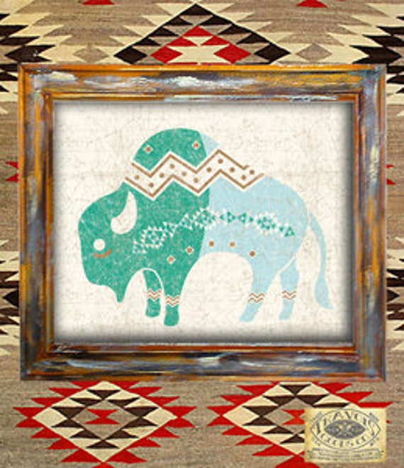 Native American Home Decor: Items Similar To Buffalo-southwest-native American-navajo