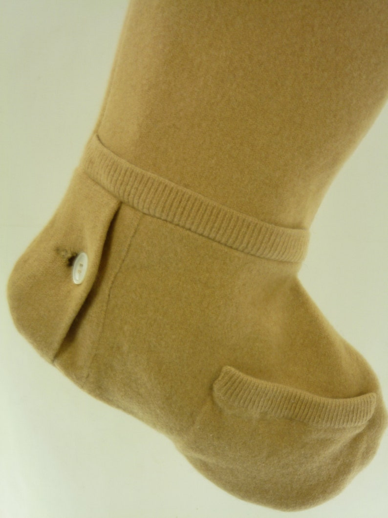 Christmas Stocking Cashmere Wool Felt Scotland McGeorge Sweater OOAK Camel Tan Beige Mother of Pearl Button Recycled Repurposed 968